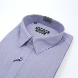 Le Bond Formal Blue Long Sleeve Printed Shirt