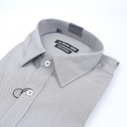 Le Bond Formal Grey Long Sleeve Printed Shirt