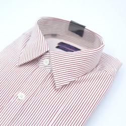 Le Bond Purple Club Formal Long Sleeve Red Striped Shirt