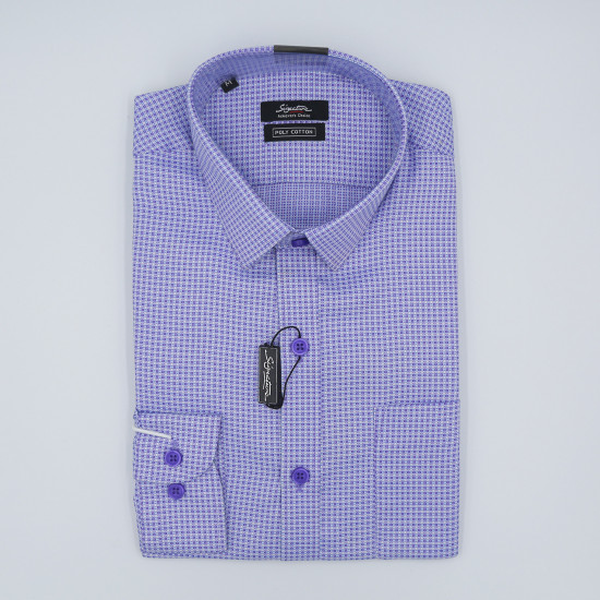 Signature Achiever's Choice Formal Purple Checked Long Sleeve Shirt