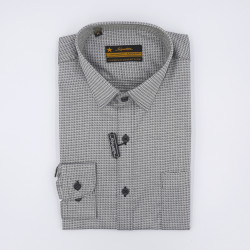 Signature Legend Formal Grey Printed Long Sleeve Shirt