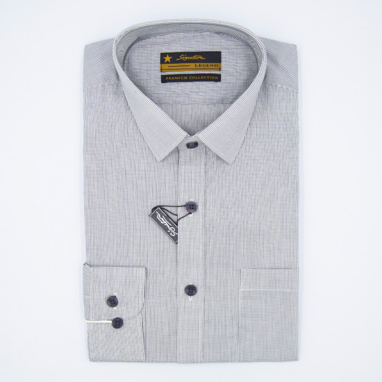 Signature Legend Formal Grey Checked Long Sleeve Shirt