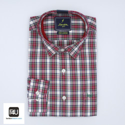 Signature Sports Casual Red Checked Long Sleeve Shirt