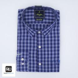 Signature Sports Casual Dark Blue Checked Long Sleeve Shirt