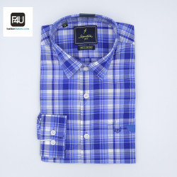 Signature Sports Casual Light Blue Checked Long Sleeve Shirt