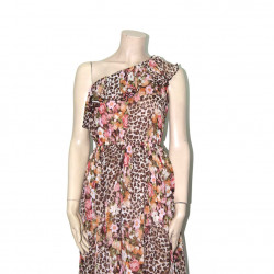 Avirate Brown Printed Off Shoulder Chiffon Short Dress